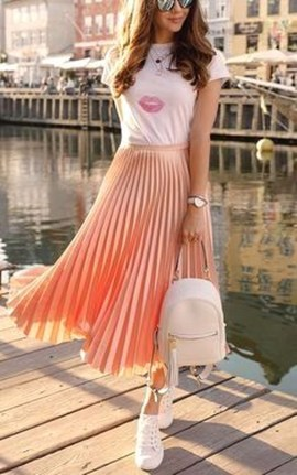 Wonderful Midi Skirt Outfit Ideas For Spring And Summer 201843