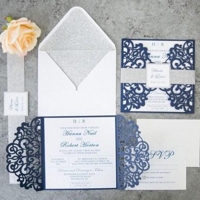 Popular Winter Wonderland Wedding Invitations Ideas11