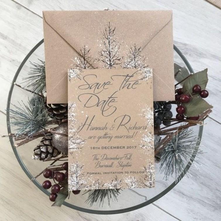 Romantic Rustic Winter Wedding Invitations Ideas19
