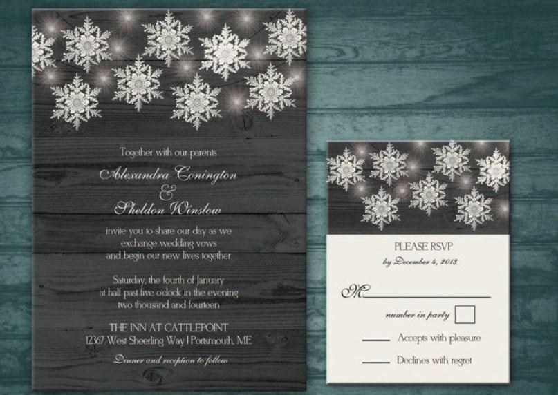 Romantic Rustic Winter Wedding Invitations Ideas32