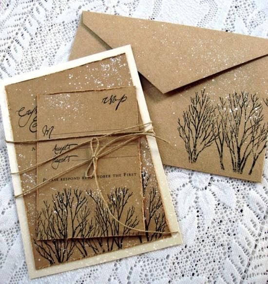 Romantic Rustic Winter Wedding Invitations Ideas36