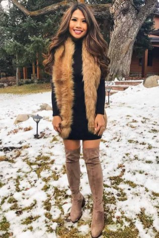 Amazing Winter Dresses Ideas With Boots13