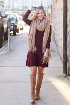 Awesome Winter Dress Outfits Ideas With Boots13