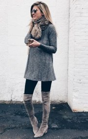 Awesome Winter Dress Outfits Ideas With Boots29