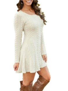 Perfect Winter White Dresses Ideas With Sleeves14