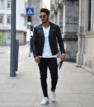 Affordable Leather Jacket Outfit Ideas26
