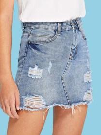 Elegant Denim Skirts Outfits Ideas For Spring19