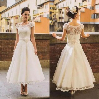 Gorgeous Tea Length Wedding Dresses Ideas12