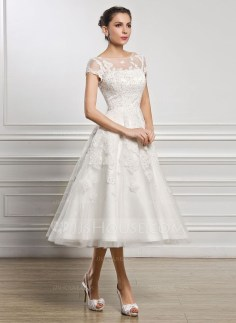Gorgeous Tea Length Wedding Dresses Ideas40