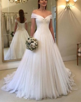 Pretty V Neck Tulle Wedding Dress Ideas For 201916