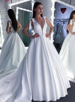 Pretty V Neck Tulle Wedding Dress Ideas For 201924