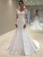 Pretty V Neck Tulle Wedding Dress Ideas For 201928