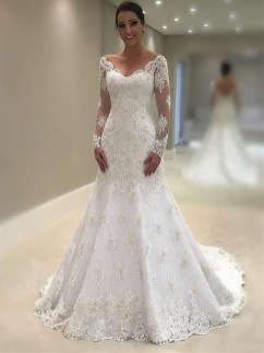 Pretty V Neck Tulle Wedding Dress Ideas For 201928