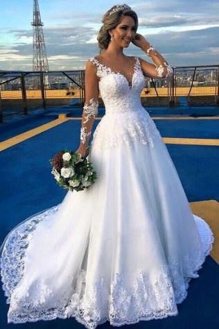 Pretty V Neck Tulle Wedding Dress Ideas For 201929