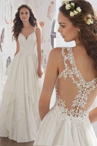 Pretty V Neck Tulle Wedding Dress Ideas For 201930