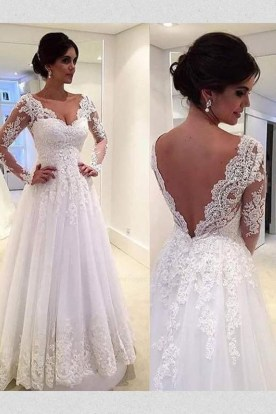 Pretty V Neck Tulle Wedding Dress Ideas For 201933