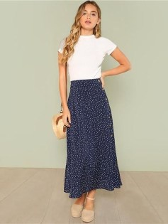 Delicate Polka Dot Maxi Skirt Ideas For Reunion11