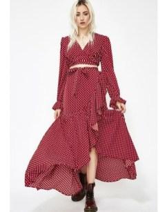 Delicate Polka Dot Maxi Skirt Ideas For Reunion41
