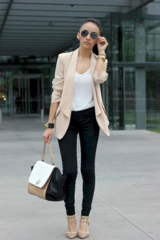 Fancy Work Outfits Ideas With Black Leggings To Copy Right Now19