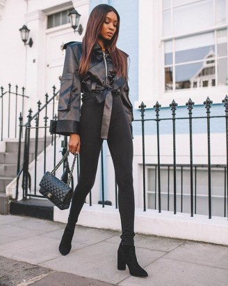 Fancy Work Outfits Ideas With Black Leggings To Copy Right Now25