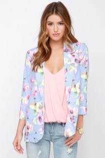 Cozy Combinations Ideas With Floral Blazers You Must Try05