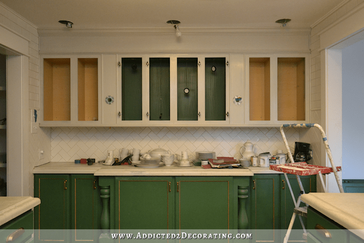 Surprise! They're Not White! (My New Upper Kitchen Cabinet