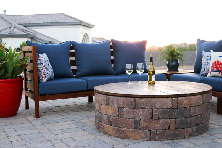 turn your fire pit into a coffee table