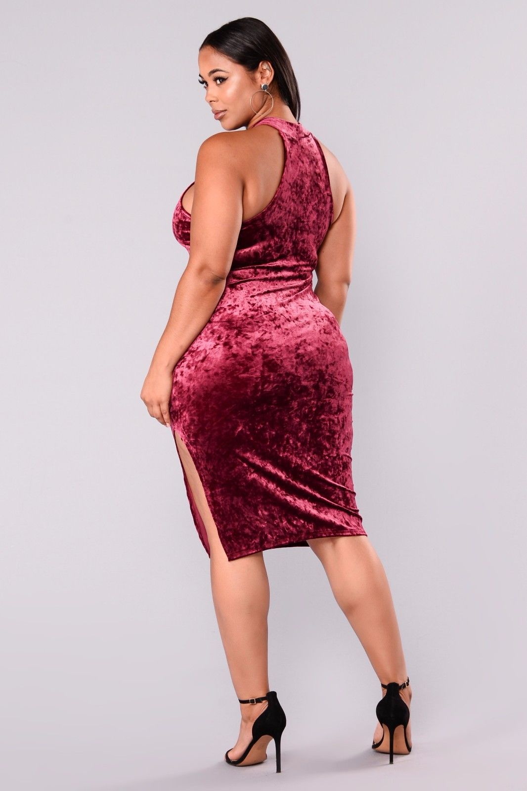 Halter Neck Velour Split Plus Size Dress