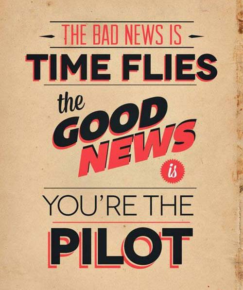 Inspirational Typography Picture Quote Time Flies