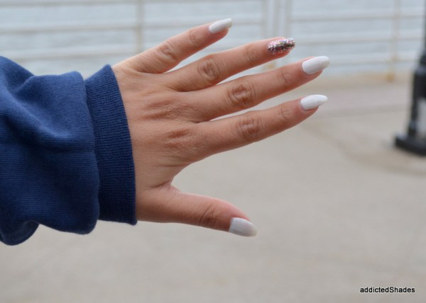 White Nails with Sequins