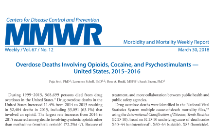 Overdose Deaths Involving Opioids, Cocaine, and Psychostimulants 2015-2016