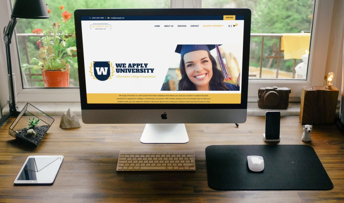 we apply college prep website mockup on computer, website design by Addie Fisher, best website designs