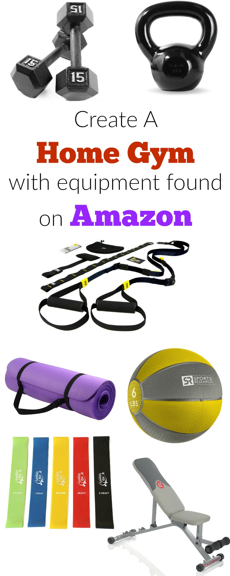 Have you ever wanted your own home gym?  Well now you can have it, all with equipment found on Amazon!