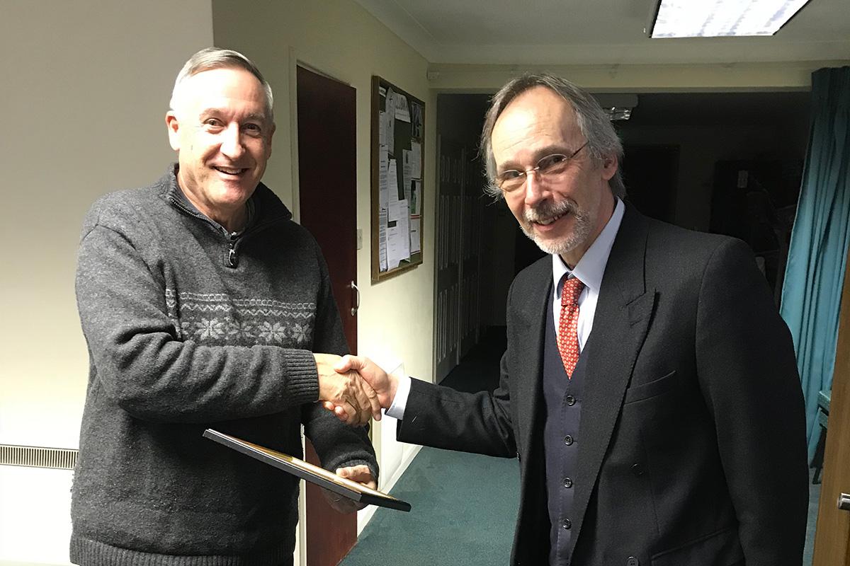 Mr Brian Fissenden receiving his KALC Community Award 2018