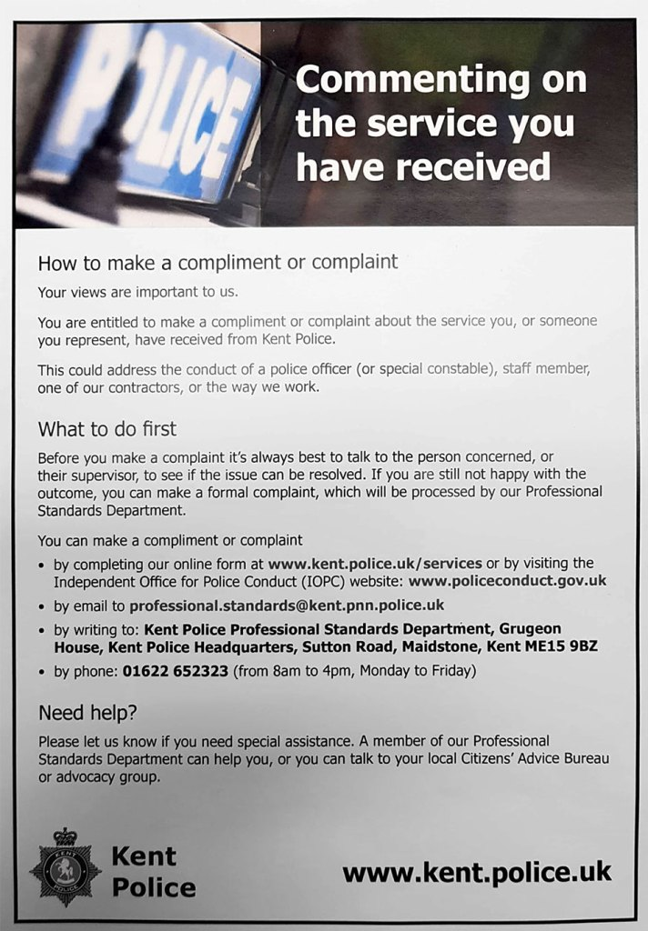 Police complaint or compliment poster