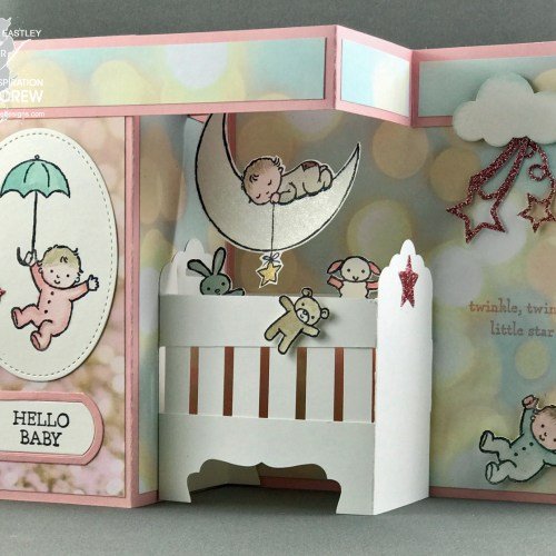 Moon Baby Double Z-Fold, Pop-Up Baby Crib Card