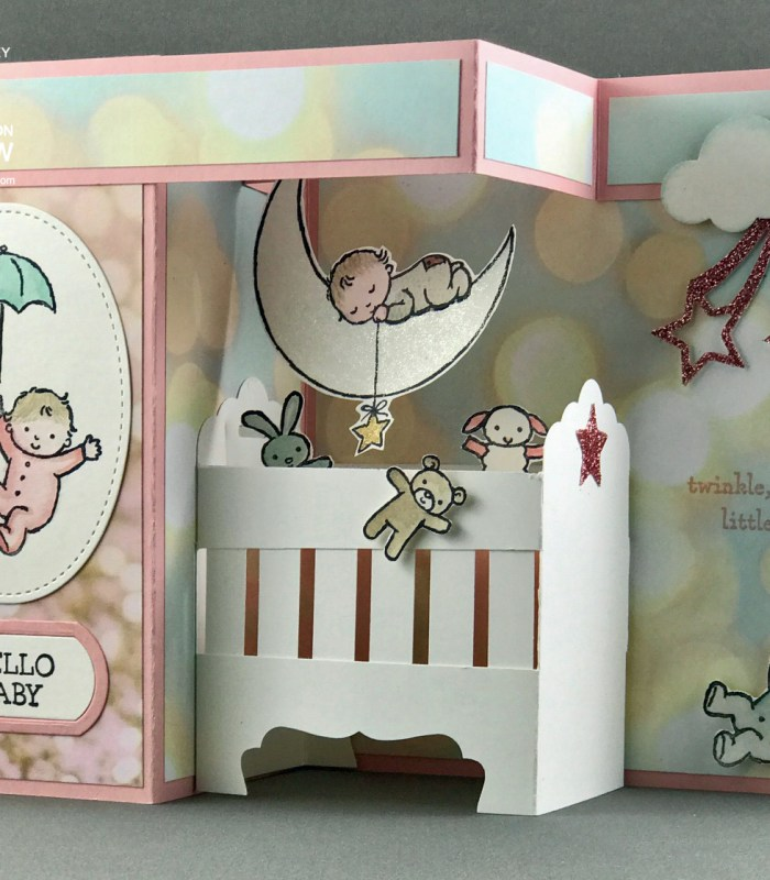Moon Baby Double Z-Fold, Pop-Up Baby Crib Card