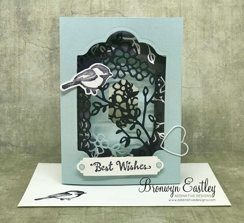 tri fold window card tutorial with petal palette