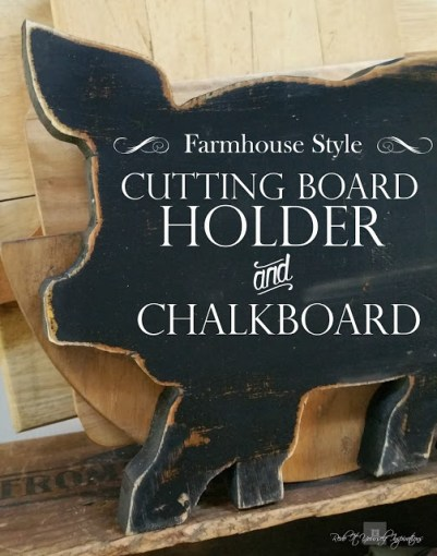 cutting board holder and chalkboard