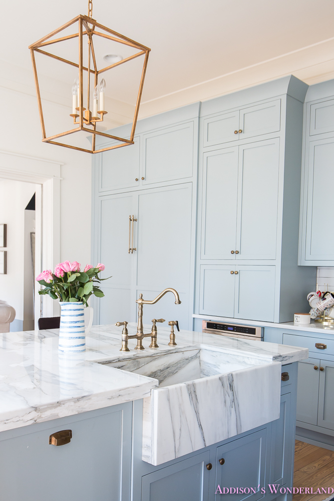 Beautiful Kitchen Inspiration With Light Blue Cabinets And Marble  Countertops   Addisonu0027s Wonderland