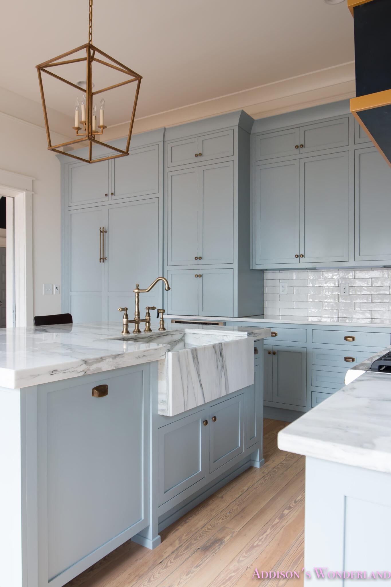 a classic vintage modern kitchen blue