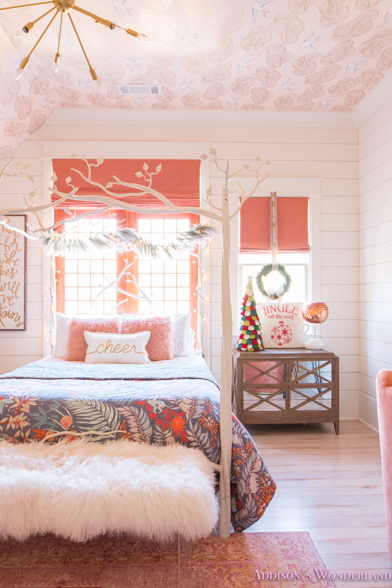 A Little Christmas Decor In Addisons Coral Girls Bedroom