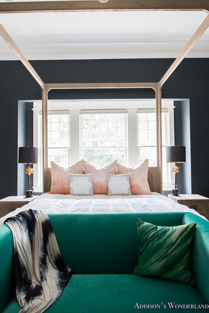 Master Bedroom Nordstrom Home Decor Beaded Chandelier Emerald Green Sear Velvet Cushion Pillows Dark Walls 4 Of 13 Addison S Wonderland