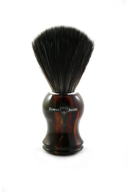Edwin Jagger Shaving Brush Synthetic Fibre Imitation Tortoiseshell Plastic Handle