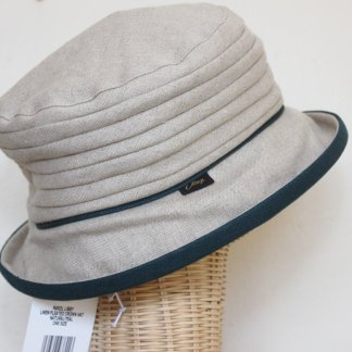 Olney Libby Linen Rouched Crown Hat Natural Teal