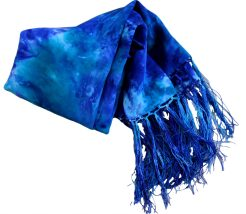 Ladycrow Crepe de Chine scarf with fringe in Gift Box Colour Ocean