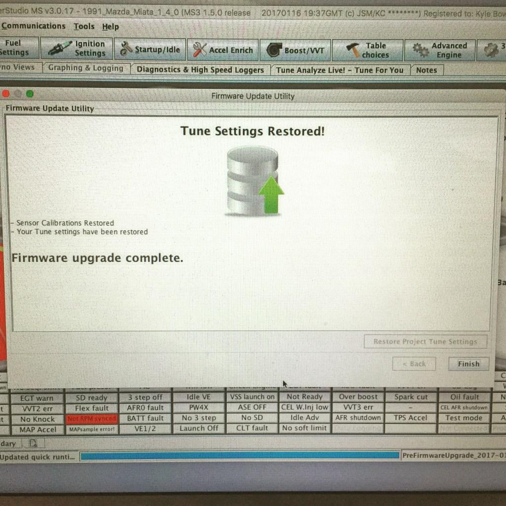MS3 Firmware Update Success