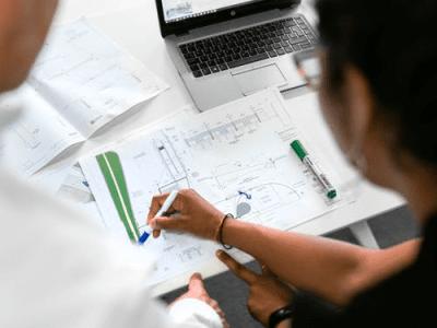 A blueprint of a civil construction