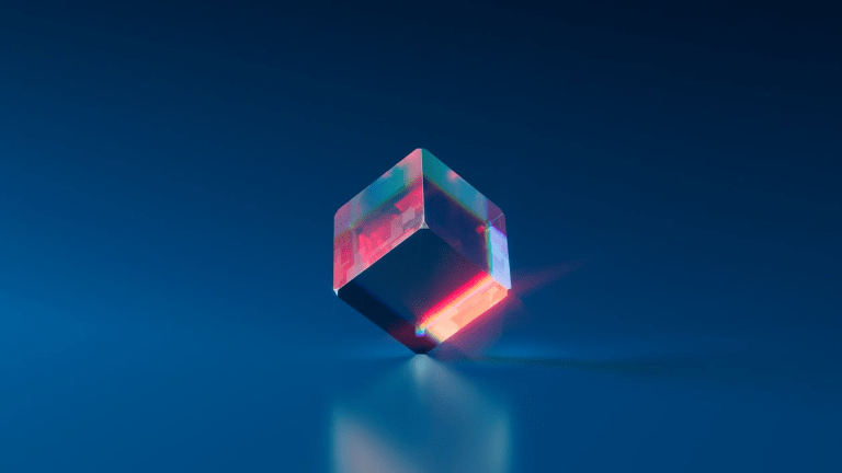 rotating cube representing 3D technology