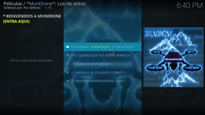 descarga Addon Mundrone en Kodi v17 Krypton